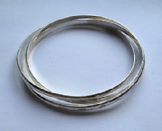 Sterling Silver Russian style D-shaped bangle with feature hallmark 21g